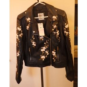 Mason by Suko Faux Leather Sakura Blossom Jacket M